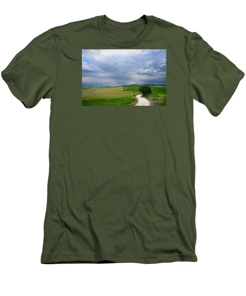 Winding Road To A Destination In A Tuscany Landscape Men's T-Shirt (Slim Fit) by IPics Photography