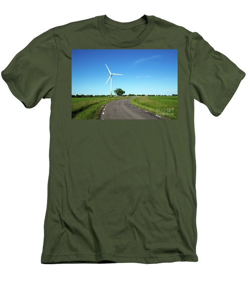 Men's T-Shirt (Athletic Fit) featuring the photograph Windmill By A Country Road Side by Kennerth and Birgitta Kullman