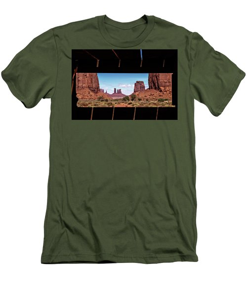 Men's T-Shirt (Slim Fit) featuring the photograph Window Into Monument Valley by Eduard Moldoveanu