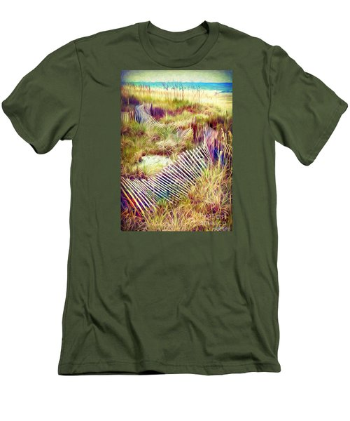 Windswept Fence Strokes Men's T-Shirt (Slim Fit) by Linda Olsen