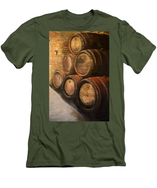 Men's T-Shirt (Athletic Fit) featuring the painting Wine In The Barrels - Chateau Meichtry by Jan Dappen