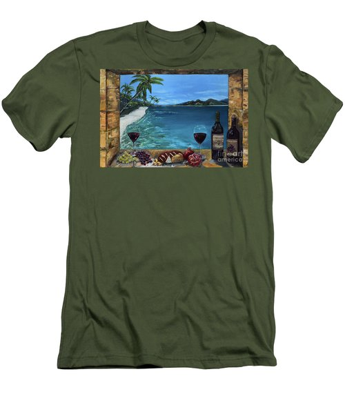 Men's T-Shirt (Athletic Fit) featuring the painting Wine Thirty - Oceanside by Jan Dappen