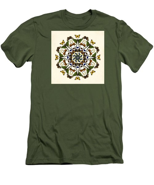 Men's T-Shirt (Slim Fit) featuring the digital art Winged Kaleidoscope by Deborah Smith