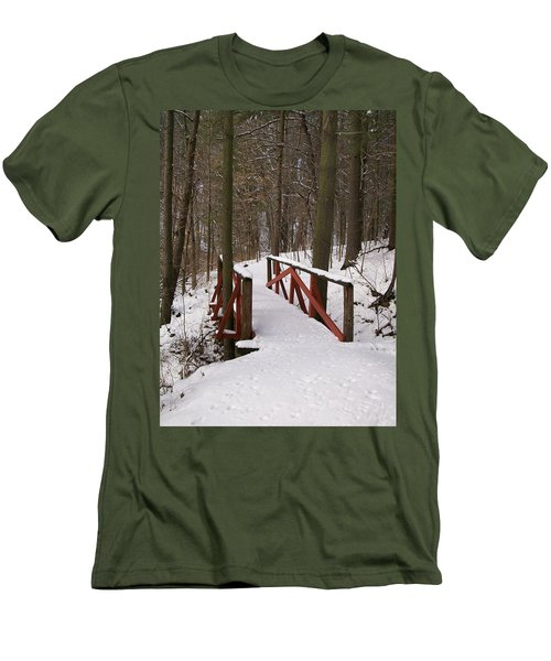 Men's T-Shirt (Slim Fit) featuring the photograph Winter Crossing by Sara  Raber