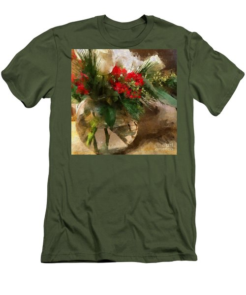 Winter Flowers In Glass Vase Men's T-Shirt (Athletic Fit)