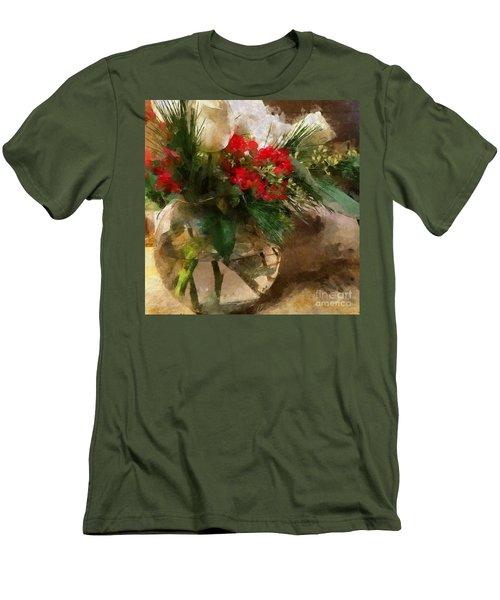 Winter Flowers In Glass Vase Men's T-Shirt (Athletic Fit)