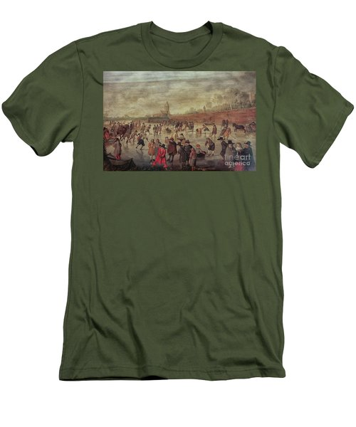 Men's T-Shirt (Slim Fit) featuring the photograph Winter Fun Painting By Barend Avercamp by Patricia Hofmeester