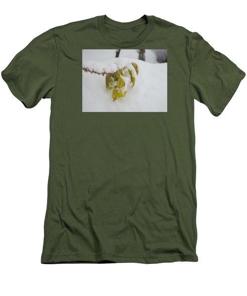 Men's T-Shirt (Slim Fit) featuring the photograph Winter Leaves by Deborah Smolinske