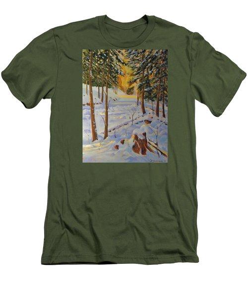 Winter On The Lane Men's T-Shirt (Slim Fit) by David Gilmore