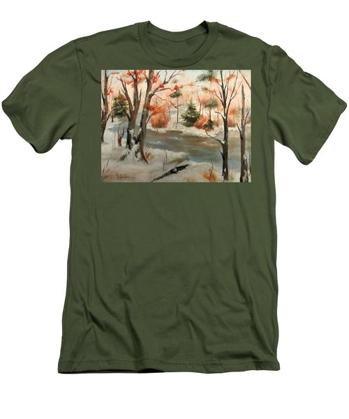 Men's T-Shirt (Slim Fit) featuring the painting Winter Stream by Roseann Gilmore