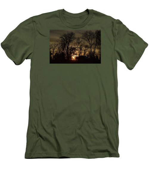 Men's T-Shirt (Slim Fit) featuring the photograph Winter Sunset  by Dacia Doroff