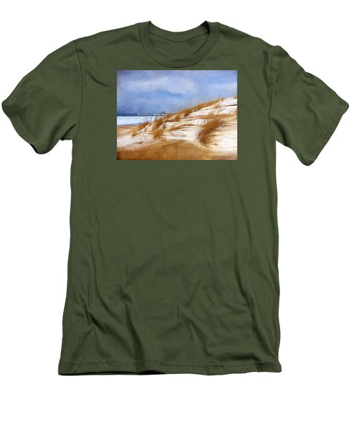 Men's T-Shirt (Slim Fit) featuring the photograph Wintertime St. Joe Lighthouse  by Kathi Mirto