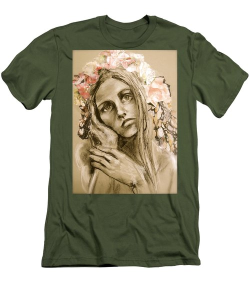 Men's T-Shirt (Slim Fit) featuring the drawing Within by Mary Schiros
