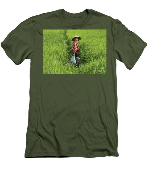 Woman Smile Rice Fields Men's T-Shirt (Slim Fit) by Chuck Kuhn
