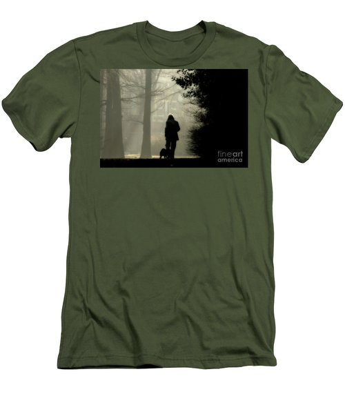 Men's T-Shirt (Slim Fit) featuring the photograph Woman Walking Dog by Patricia Hofmeester