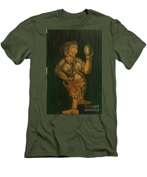 Men's T-Shirt (Slim Fit) featuring the painting Woman With A Mirror Sculpture by Brindha Naveen