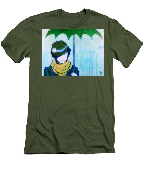 Men's T-Shirt (Athletic Fit) featuring the painting Woman With Green Umbrella by Bob Baker