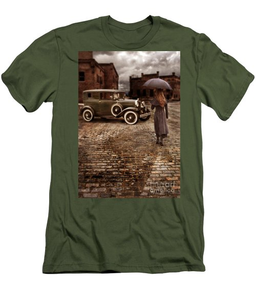 Woman With Umbrella By Vintage Car Men's T-Shirt (Athletic Fit)