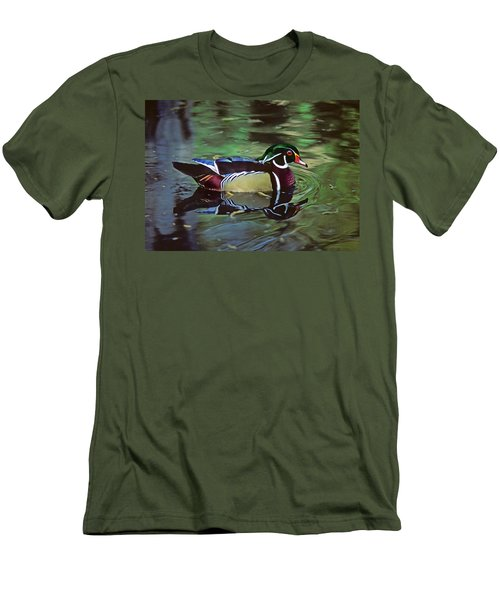 Men's T-Shirt (Slim Fit) featuring the photograph Wood Duck by Marie Hicks