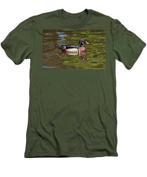 Men's T-Shirt (Slim Fit) featuring the photograph Wood Duck by Sandy Keeton