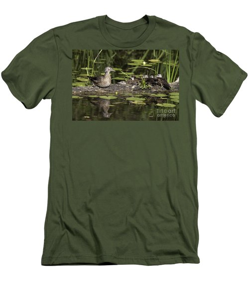 Wood Duck With Her Ducklings Men's T-Shirt (Athletic Fit)