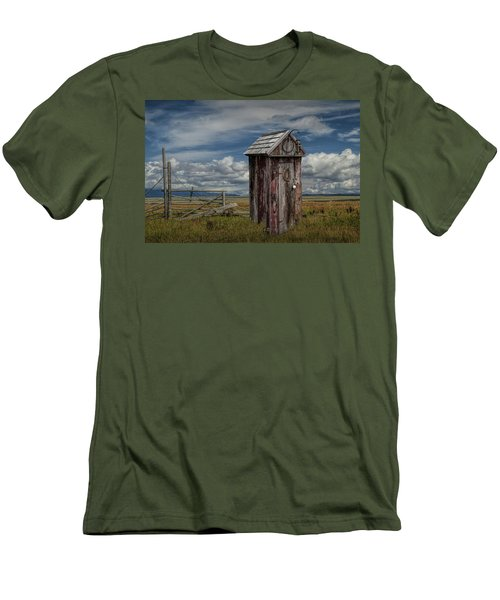 Wood Outhouse Out West Men's T-Shirt (Slim Fit) by Randall Nyhof