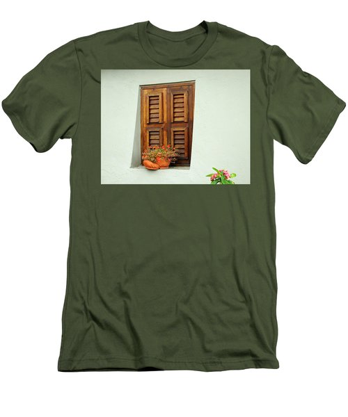 Men's T-Shirt (Slim Fit) featuring the photograph Wood Shuttered Window, Island Of Curacao by Kurt Van Wagner