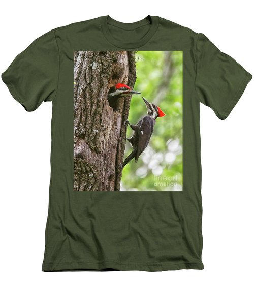 Woodpeckers Trading Places Men's T-Shirt (Slim Fit) by Myrna Bradshaw