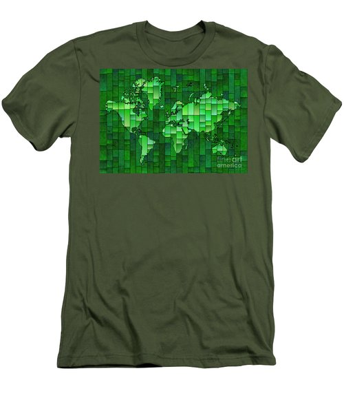 World Map Glasa Green Men's T-Shirt (Athletic Fit)