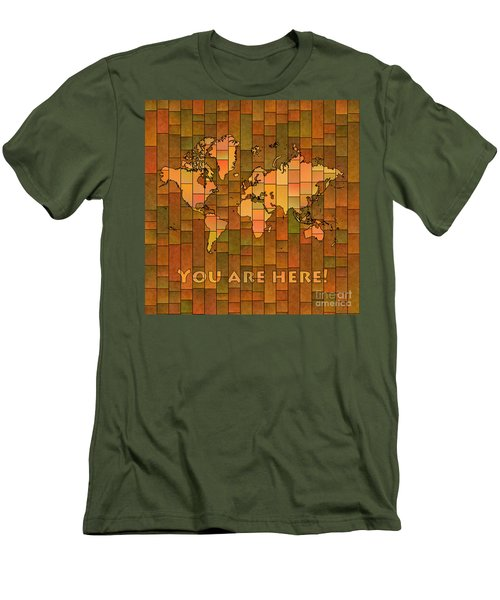 World Map Glasa You Are Here Brown Orange Green Men's T-Shirt (Athletic Fit)