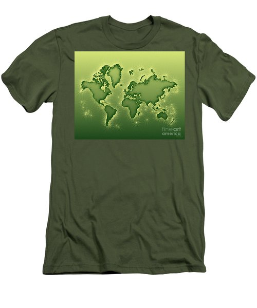 World Map Opala In Green And Yellow Men's T-Shirt (Athletic Fit)