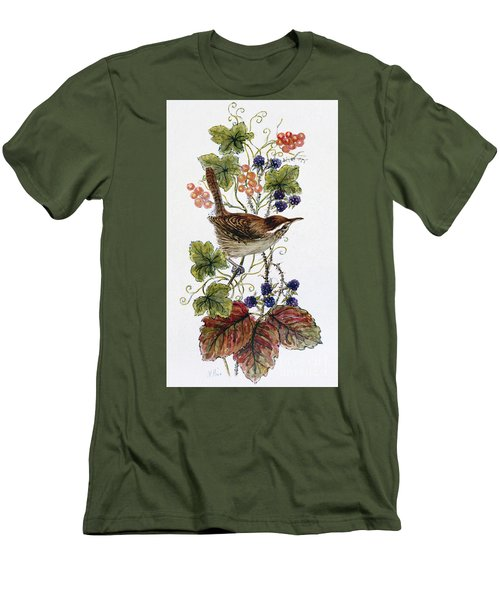 Wren On A Spray Of Berries Men's T-Shirt (Slim Fit) by Nell Hill