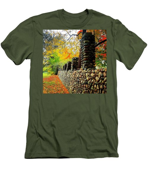 Wright Park Stone Wall In Fall Men's T-Shirt (Athletic Fit)