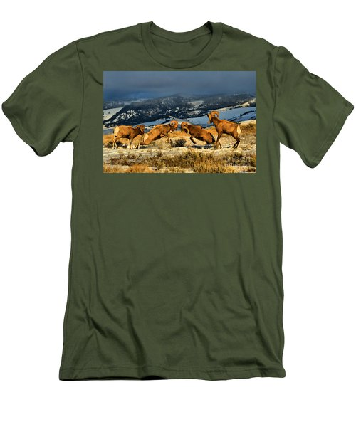 Men's T-Shirt (Slim Fit) featuring the photograph Wyoming Bighorn Brawl by Adam Jewell