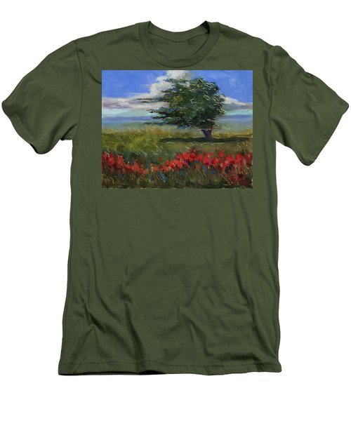 Men's T-Shirt (Slim Fit) featuring the painting Wyoming Gentle Breeze by Billie Colson