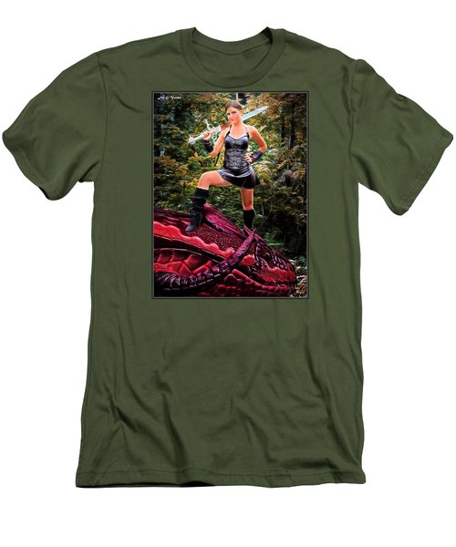 Xena Meets Dragon Men's T-Shirt (Athletic Fit)