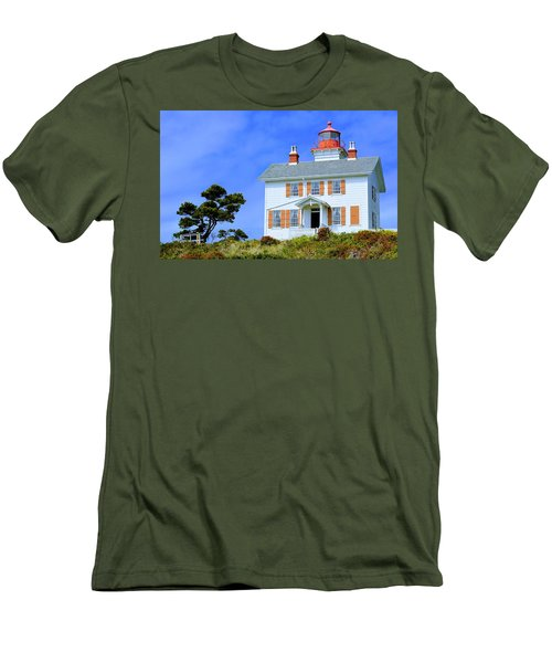 Men's T-Shirt (Athletic Fit) featuring the photograph Yaquina Bay Lighthouse by AJ Schibig