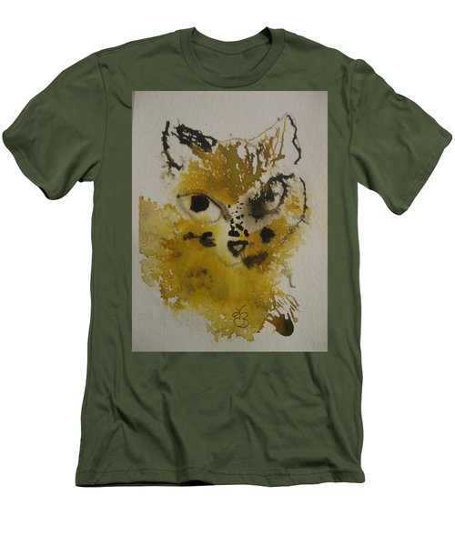 Yellow And Brown Cat Men's T-Shirt (Athletic Fit)