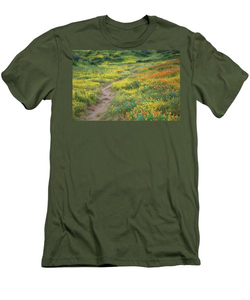 Men's T-Shirt (Slim Fit) featuring the photograph Yellow And Orange Wildflowers Along Trail Near Diamond Lake by Jetson Nguyen