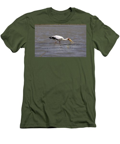 Yellow Billed Stork Wading In The Shallows Men's T-Shirt (Slim Fit) by Aidan Moran