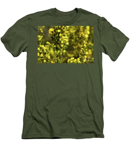 Yellow Blooms Men's T-Shirt (Slim Fit) by Cassandra Buckley