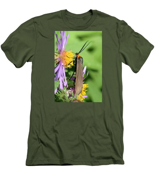 Men's T-Shirt (Slim Fit) featuring the photograph Yellow-collared Scape Moth by Doris Potter