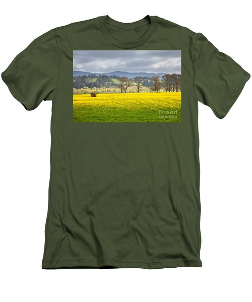 Yellow Fields Along The Eel River Men's T-Shirt (Slim Fit) by Mark Alder