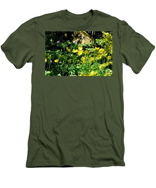 Yellow Flowers Bathing In The Sun Men's T-Shirt (Slim Fit) by Tanya Searcy