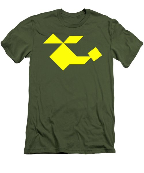 Yellow Helicopter Tangram Men's T-Shirt (Athletic Fit)