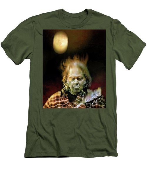 Yellow Moon On The Rise Men's T-Shirt (Slim Fit) by Mal Bray