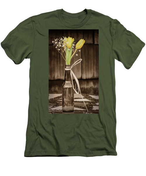 Men's T-Shirt (Slim Fit) featuring the photograph Yellow Tulips In Glass Bottle Sepia by Terry DeLuco