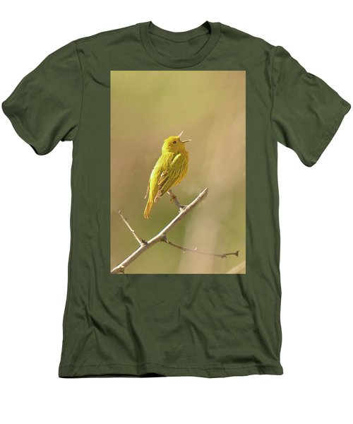 Yellow Warbler Song Men's T-Shirt (Slim Fit) by Alan Lenk