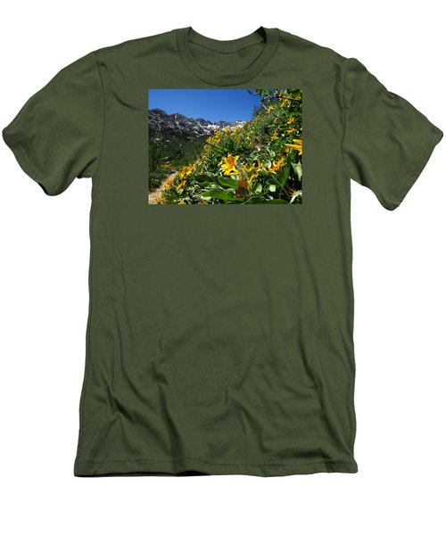 Yellow Wildflowers Men's T-Shirt (Slim Fit) by Alan Socolik