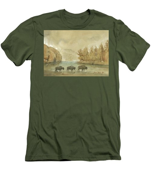 Yellowstone And Bisons Men's T-Shirt (Slim Fit) by Juan Bosco